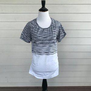 Athleta Black & White Stripe Ruched Knit T Shirt